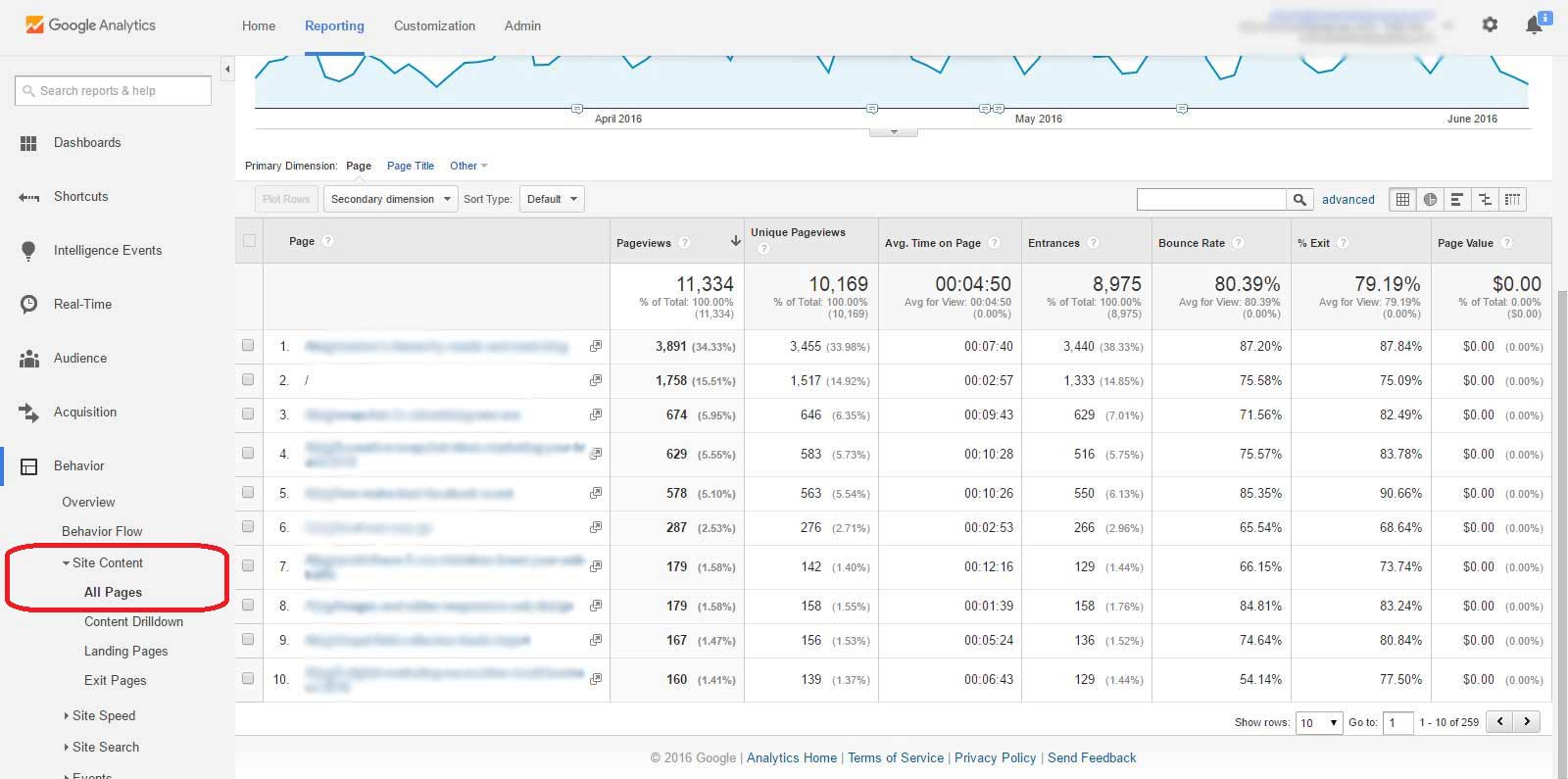 Google Analytics Report, Behavior, Site Content, All Pages, Screenshot