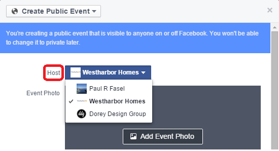 Facebook Event Host as Page Options