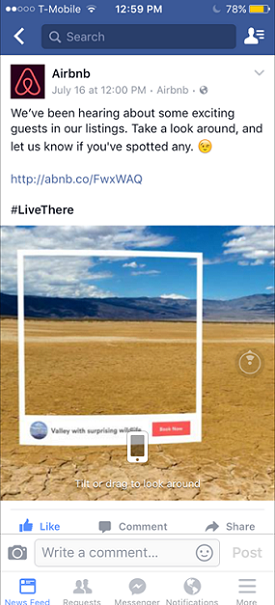 Facebook 360 Degree Photo, Airbnb Ad