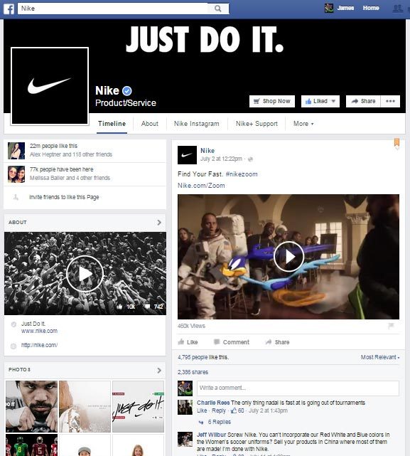Facebook Page Example, Nike