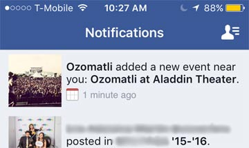 Facebook Event Nearby Venue Notification, Mobile