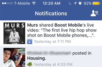Facebook Live Video Share Notification, Murs and Boost Mobile Pages
