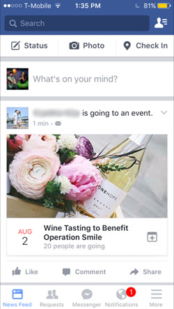 Facebook app mobile iOS, Going to Event on Newsfeed with Cover Photo visible