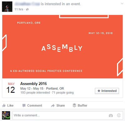 Facebook User Interested in Event, News Feed on Desktop