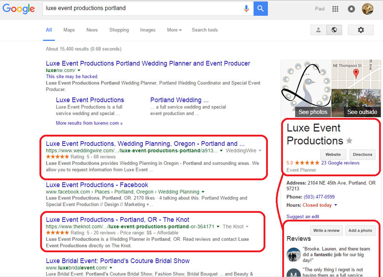 Google Search Results, Online Reviews, Wedding Planner
