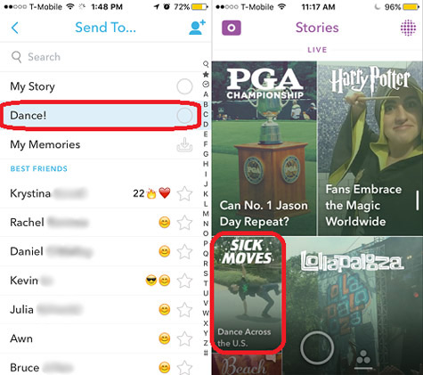 Snapchat Live Story Example with Dashboards, National Dance Day