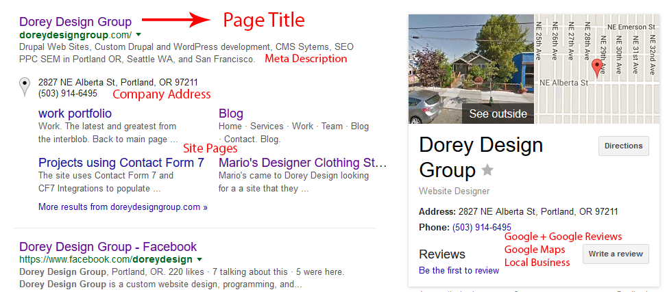 Search Engine Results Page (SERP) for Dorey Design Group