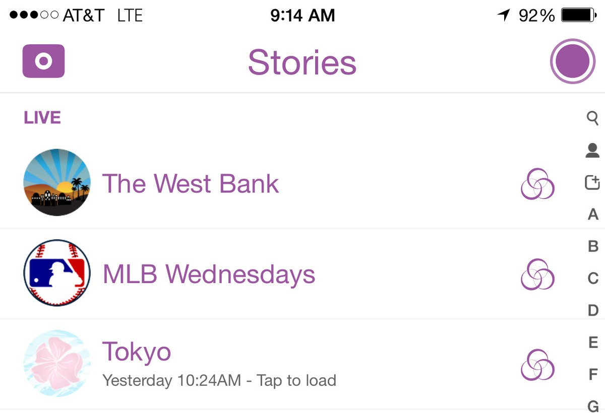 Snapchat Stories Example