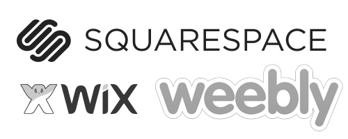 Site Builders, Squarespace, Wix, Weebly logos
