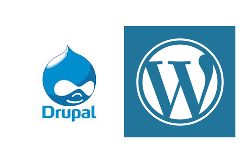 Logo of drupal and WordPress