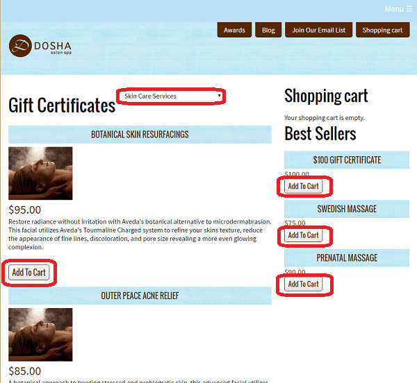 e-Commerce Website Store, Multiple Call-to-Action Placements, Dosha