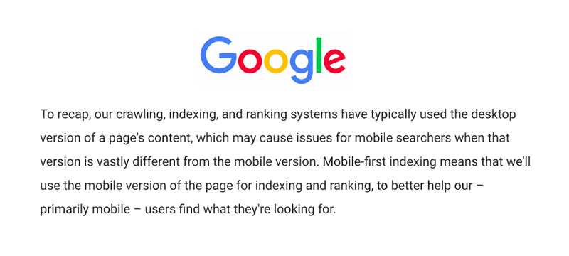 notice on mobile first indexing from google