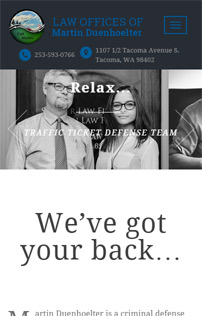 Tacoma Lawyer, WordPress responsive web project, mobile view