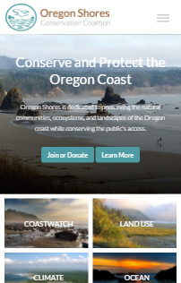 Oregon Shores Drupal Website Phone Screen Shot