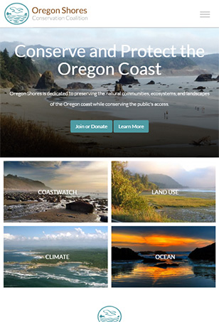 Oregon Shores Drupal Website Tablet Screen Shot