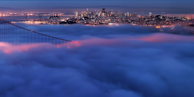 Aerial photo of the Golden Gate bridge and San Francisco.