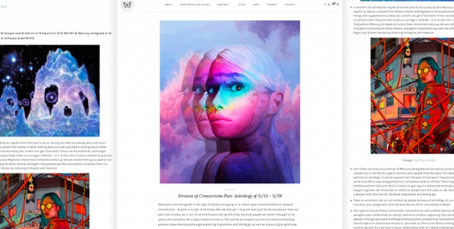 screenshots of a blog page