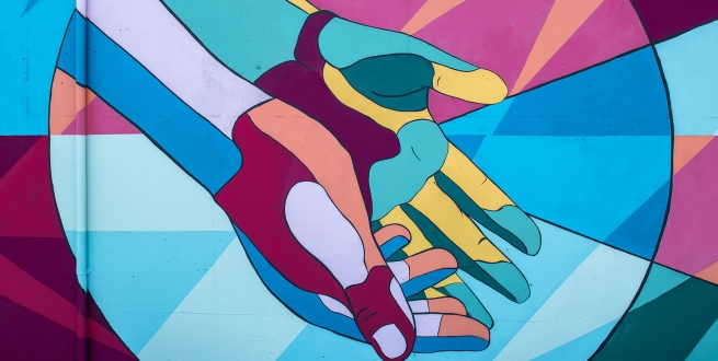 mural of hands outstretched