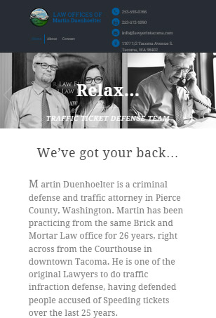 Tacoma Lawyer, WordPress responsive web project, tablet view