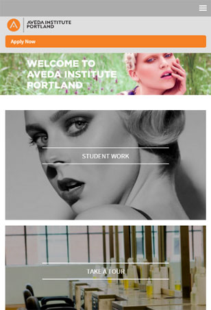 Tablet Aveda Institute, responsive Drupal project, Portland Oregon