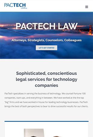 PacTech Law WordPress site tablet screenshot